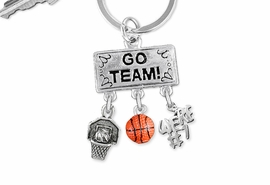 "<Br>                EXCLUSIVELY OURS!! <Br>           AN ALLAN ROBIN DESIGN!! <Br>              LEAD & NICKEL FREE!! <BR> W20122KC - SILVER TONE ""GO TEAM!"" <BR> ""WE'RE #1"", HOOP, AND BALL CHARMS <BR>        BASKETBALL THEMED KEY RING <BR>         FROM $6.41 TO $14.25 �2013"