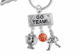 "<Br>                EXCLUSIVELY OURS!! <Br>           AN ALLAN ROBIN DESIGN!! <Br>              LEAD & NICKEL FREE!! <BR> W20123KC - SILVER TONE ""GO TEAM!"" <BR> ""#1"" TROPHY, PLAYER AND BALL CHARMS <BR> WOMENS BASKETBALL THEMED KEY RING <BR>         FROM $6.41 TO $14.25 �2013"