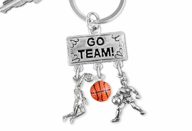 "<Br>                EXCLUSIVELY OURS!! <Br>           AN ALLAN ROBIN DESIGN!! <Br>              LEAD & NICKEL FREE!! <BR> W20124KC - SILVER TONE ""GO TEAM!"" <BR> DUNKER, LADY PLAYER AND BALL CHARMS <BR> WOMENS BASKETBALL THEMED KEY RING <BR>         FROM $6.41 TO $14.25 �2013"