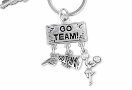 "<Br>                 EXCLUSIVELY OURS!! <Br>            AN ALLAN ROBIN DESIGN!! <Br>               LEAD & NICKEL FREE!! <BR>  W20133KC - SILVER TONE ""GO TEAM!"" <BR>  CHEERLEADING THEMED KEY RING WITH <BR> WHISTLE, MEGAPHONE AND CHEERLEADER <BR>          FROM $6.41 TO $14.25 �2013"