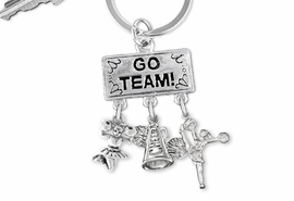 "<Br>                 EXCLUSIVELY OURS!! <Br>            AN ALLAN ROBIN DESIGN!! <Br>               LEAD & NICKEL FREE!! <BR>  W20134KC - SILVER TONE ""GO TEAM!"" <BR>  CHEERLEADING THEMED KEY RING WITH <BR> ""CHEER"" MEGAPHONE AND CHEERLEADERS <BR>          FROM $6.41 TO $14.25 �2013"