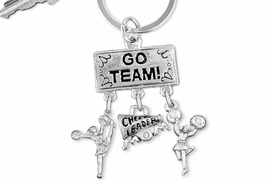 "<Br>                  EXCLUSIVELY OURS!! <Br>             AN ALLAN ROBIN DESIGN!! <Br>                LEAD & NICKEL FREE!! <BR>   W20143KC - SILVER TONE ""GO TEAM!"" <BR>   CHEERLEADING THEMED KEY RING WITH <BR> CHEER MOM MEGAPHONE & CHEERLEADERS <BR>           FROM $6.41 TO $14.25 �2013"