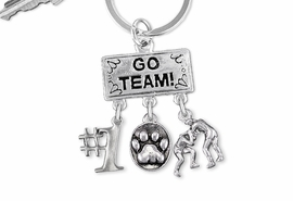 "<Br>                EXCLUSIVELY OURS!! <Br>           AN ALLAN ROBIN DESIGN!! <Br>              LEAD & NICKEL FREE!! <BR> W20157KC - SILVER TONE ""GO TEAM!"" <BR>    WRESTLING THEMED KEY RING WITH <BR> #1, 3D SILVER PAW, WRESTLERS CHARMS <BR>        FROM $6.41 TO $14.25 �2013"