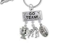 "<Br>                EXCLUSIVELY OURS!! <Br>           AN ALLAN ROBIN DESIGN!! <Br>              LEAD & NICKEL FREE!! <BR> W20159KC - SILVER TONE ""GO TEAM!"" <BR>    WRESTLING THEMED KEY RING WITH <BR> #1 TROPHY, WRESTLERS & ST. CHRISTOPHER <BR> CHARMS FROM $6.41 TO $14.25 �2013"