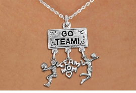 "<Br>               EXCLUSIVELY OURS!! <Br>          AN ALLAN ROBIN DESIGN!! <Br>             LEAD & NICKEL FREE!! <BR> W20212N - SILVER TONE ""GO TEAM!"" <BR> LADY'S VOLLEYBALL THEMED PENDANT <BR>  WITH BUMP, ""TEAM MOM"" AND SERVE <BR> CHARMS ON LOBSTER CLASP NECKLACE <BR>       FROM $9.00 TO $20.00 �2013"