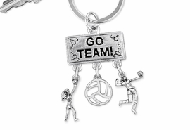 "<Br>                 EXCLUSIVELY OURS!! <Br>            AN ALLAN ROBIN DESIGN!! <Br>               LEAD & NICKEL FREE!! <BR>  W20227KC - SILVER TONE ""GO TEAM!"" <BR>    VOLLEYBALL THEMED KEY RING WITH <BR> HIGH SERVE, OPEN BALL AND SERVE CHARMS <BR>         FROM $6.41 TO $14.25 �2013"