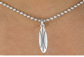 <bR>        EXCLUSIVELY OURS!!<Br> AN ALLAN ROBIN DESIGN!!<br>       LEAD & NICKEL FREE!!<BR>   W357SN - SURFBOARD &<Br>NECKLACE AS LOW AS $4.50