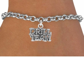"<bR> EXCLUSIVELY OURS!!<Br> AN ALLAN ROBIN DESIGN!! <BR> LEAD & NICKEL FREE!!<BR>W714SB - ""DRILL TEAM"" <br> CHARM BRACELET FOR $3.65"