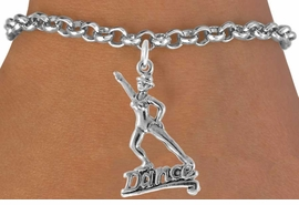 """<bR> EXCLUSIVELY OURS!!<Br> AN ALLAN ROBIN DESIGN!! <BR> LEAD & NICKEL FREE!!<BR> W834SB - """"DANCE"""" CHARM<Br>         BRACELET FOR $3.65"""