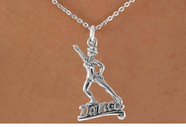 """<bR> EXCLUSIVELY OURS!!<Br> AN ALLAN ROBIN DESIGN!!<BR> LEAD & NICKEL FREE!!<BR> W834SN - """"DANCE"""" CHARM <BR>   NECKLACE FOR $4.05"""