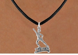 """<bR> EXCLUSIVELY OURS!!<Br> AN ALLAN ROBIN DESIGN!!<BR> LEAD & NICKEL FREE!!<BR> W834SN - """"DANCE"""" CHARM<Br> NECKLACE FOR $4.05"""