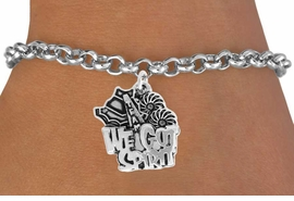 "<bR> EXCLUSIVELY OURS!!<BR> AN ALLAN ROBIN DESIGN!!<BR> LEAD & NICKEL FREE!!<BR> W843SB - ""WE'VE GOT SPIRIT""<Br> CHARM BRACELET FOR $4.50"