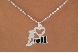 """<bR> EXCLUSIVELY OURS!!<BR> AN ALLAN ROBIN DESIGN!!<BR> LEAD & NICKEL FREE!!<BR> W844SN - """"I LOVE DRILL""""<Br> CHARM NECKLACE FOR $4.05"""