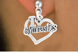 "<bR>               EXCLUSIVELY OURS!!<BR>         AN ALLAN ROBIN DESIGN!! <BR>              LEAD & NICKEL FREE!!<BR> W966SE - ""I LOVE GYMNASTICS"" <Br>             CHARM EARRINGS  <br>       AS LOW AS $3.25"