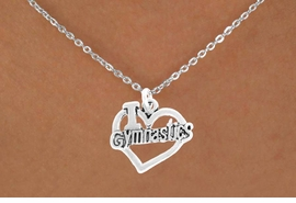 "<bR>               EXCLUSIVELY OURS!! <BR>         AN ALLAN ROBIN DESIGN!!<BR>              LEAD & NICKEL FREE!!<BR>  W966SN - ""I LOVE GYMNASTICS""<Br>          CHARM AND NECKLACE  <br>       AS LOW AS $4.55"