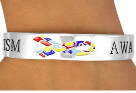 "<Br>               EXCLUSIVELY OURS!!!<Br>          AN ALLAN ROBIN DESIGN!<BR>W11882B - ""AUTISM AWARENESS""<Br>     & PUZZLE PIECE RIBBON CUFF<Br>           BRACELET ©2010 FROM<bR>                     $4.60 TO $7.50"