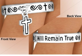 "<BR>              EXCLUSIVELY OURS!!!<Br>         AN ALLAN ROBIN DESIGN!<Br>W11889R - ""I WILL REMAIN TRUE""<br>      CROSS DROP STRETCH RING<BR>              FROM $2.25 TO $5.00"