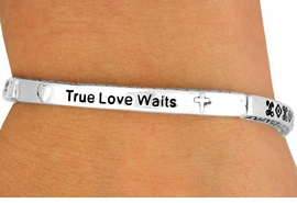 "<Br>                 EXCLUSIVELY OURS!!!<Br>            AN ALLAN ROBIN DESIGN<bR>     W11898B - ""TRUE LOVE WAITS""<br>STRETCH BRACELET AS LOW AS $3.35"