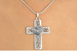<Br>               EXCLUSIVELY OURS!!<BR>        AN ALLAN ROBIN DESIGN!!<BR>W11961N - FILIGREE SILVER TONE<BR>       CROSS & HEART NECKLACE<Br>             FROM $5.45 TO $12.50