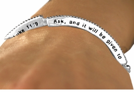 "<Br>                       EXCLUSIVELY OURS!!<Br>                AN ALLAN ROBIN DESIGN!!<Br>        W12600B - ""ASK AND IT WILL BE<BR>GIVEN TO YOU; SEEK AND YOU WILL FIND;<br>  KNOCK AND THE DOOR WILL BE OPENED<Br>TO YOU. LUKE 11:9"" STACKABLE STRETCH<Br>              BRACELET AS LOW AS $4.40"