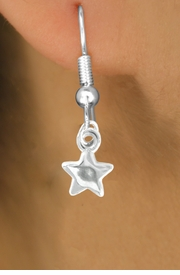 <Br>               EXCLUSIVELY OURS!!<Br>        AN ALLAN ROBIN DESIGN!!<Br> W16502E - MINIATURE POLISHED<Br>SILVER TONE STAR ON FISHHOOK<Br>  EARRINGS FROM $2.25 TO $7.00
