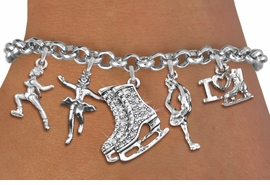 <Br>              EXCLUSIVELY OURS!!<Br>        AN ALLAN ROBIN DESIGN!! <Br>W19363B - SILVER TONE & CLEAR <BR> CRYSTAL ICE SKATING THEMED <BR>           FIVE CHARM BRACELET<BR>        FROM $8.66 TO $19.25  �2012