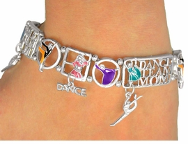 """<Br>                EXCLUSIVELY OURS!<br>         AN ALLAN ROBIN DESIGN!!<br>W9364B - POLISHED SILVER TONE<Br>    """"DANCE TEAM MOM"""" STRETCH<Br> BRACELET FOR $4.50"""