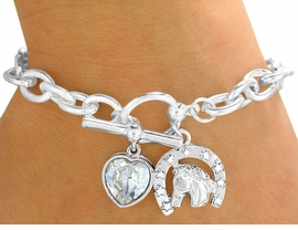 "<bR>               EXCLUSIVELY OURS!!!<Br>          AN ALLAN ROBIN DESIGN!<BR>W9590B - POLISHED SILVER TONE<Br>   ""LUCKY HORSE"" & HEART DROP<bR>        CHARM TOGGLE BRACELET<bR>              FROM $3.94 TO $8.75"