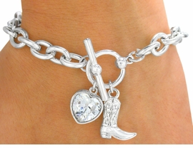 <bR>              EXCLUSIVELY OURS!!!<Br>         AN ALLAN ROBIN DESIGN!<BR>W9591B - POLISHED SILVER TONE<Br>    COWBOY BOOT & HEART DROP<bR>        CHARM TOGGLE BRACELET<Br>              FROM $3.94 TO $8.75