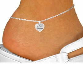 "<bR>               EXCLUSIVELY OURS!!<BR>  CLICK HERE TO SEE 120+ EXCITING<BR>   CHANGES THAT YOU CAN MAKE!<BR>              LEAD & NICKEL FREE!!<BR>W424SAK - ""I AM STRONG"" HEART<Br>    & ANKLET FROM $4.50 TO $8.35"