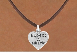 "<bR>                    EXCLUSIVELY OURS!!<BR>      CLICK HERE TO SEE 120+ EXCITING<BR>        CHANGES THAT YOU CAN MAKE!<BR>                   LEAD & NICKEL FREE!!<BR>W425SN - ""EXPECT A MIRACLE"" HEART<br> CHARM & NECKLACE AS LOW AS $4.50"