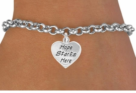 """<bR>                EXCLUSIVELY OURS!!<BR>CLICK HERE TO SEE 120+ EXCITING<BR>   CHANGES THAT YOU CAN MAKE!<BR>              LEAD & NICKEL FREE!!<BR>   W443SB - """"HOPE STARTS HERE""""<BR>          HEART & BRACELET FROM<Br>                      $4.50 TO $8.35"""