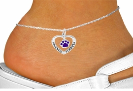 "<bR>              EXCLUSIVELY OURS!!<BR> CLICK HERE TO SEE 120+ EXCITING<BR>  CHANGES THAT YOU CAN MAKE!<BR>             LEAD & NICKEL FREE!!<BR>  W454SAK - ""FRIENDS FOREVER""<BR>PURPLE PAW & HEART ON ANKLET<Br>                   AS LOW AS $3.90"
