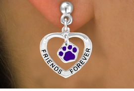 "<bR>                 EXCLUSIVELY OURS!!<BR>   CLICK HERE TO SEE 120+ EXCITING<BR>    CHANGES THAT YOU CAN MAKE!<BR>                LEAD & NICKEL FREE!!<BR>      W454SE - ""FRIENDS FOREVER""<Br>PURPLE PAW & HEART ON EARRINGS<Br>                      FROM $5.25 TO $12.50"