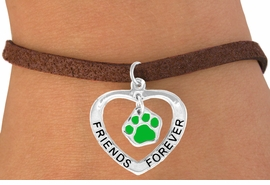 "<bR>               EXCLUSIVELY OURS!!<BR>  CLICK HERE TO SEE 120+ EXCITING<BR>   CHANGES THAT YOU CAN MAKE!<BR>              LEAD & NICKEL FREE!!<BR>    W455SB - ""FRIENDS FOREVER""<BR>GREEN PAW & HEART ON BRACELET<Br>                    AS LOW AS $5.90"