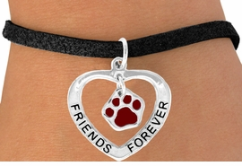 "<bR>                 EXCLUSIVELY OURS!!<BR>    CLICK HERE TO SEE 120+ EXCITING<BR>     CHANGES THAT YOU CAN MAKE!<BR>                LEAD & NICKEL FREE!!<BR>       W457SB - ""FRIENDS FOREVER""<BR>MAROON PAW & HEART ON BRACELET<Br>                      AS LOW AS $5.90"