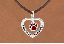 "<bR>               EXCLUSIVELY OURS!!<BR>  CLICK HERE TO SEE 120+ EXCITING<BR>   CHANGES THAT YOU CAN MAKE!<BR>              LEAD & NICKEL FREE!!<BR>    W457SN - ""FRIENDS FOREVER""<br>MAROON PAW & HEART NECKLACE<BR>                  AS LOW AS $6.25"
