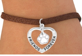 "<bR>               EXCLUSIVELY OURS!!<BR>  CLICK HERE TO SEE 120+ EXCITING<BR>   CHANGES THAT YOU CAN MAKE!<BR>              LEAD & NICKEL FREE!!<BR>    W458SB - ""FRIENDS FOREVER""<BR>WHITE PAW & HEART ON BRACELET<Br>                    AS LOW AS $5.90"
