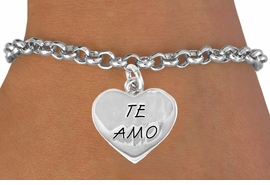 "<bR>              EXCLUSIVELY OURS!!<BR>CLICK HERE TO SEE 120+ EXCITING<BR>  CHANGES THAT YOU CAN MAKE!<BR>             LEAD & NICKEL FREE!!<BR>    W463SB - ""TE AMO"" HEART &<BR>       BRACELET AS LOW AS $4.50"