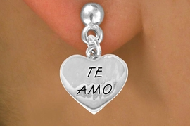 "<bR>               EXCLUSIVELY OURS!!<BR>CLICK HERE TO SEE 120+ EXCITING<BR>   CHANGES THAT YOU CAN MAKE!<BR>              LEAD & NICKEL FREE!!<BR>      W463SE - ""TE AMO"" HEART &<Br>         EARRING FROM $4.50 TO $8.35"