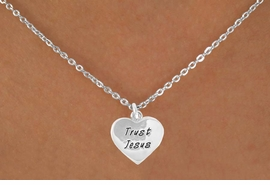 """<bR>                EXCLUSIVELY OURS!!<BR> CLICK HERE TO SEE 120+ EXCITING<BR>    CHANGES THAT YOU CAN MAKE!<BR>               LEAD & NICKEL FREE!!<BR>  W466SN - """"TRUST JESUS"""" HEART<Br>  & NECKLACE FROM $4.50 TO $8.35"""