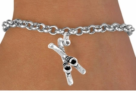 <bR>              EXCLUSIVELY OURS!!<BR>CLICK HERE TO SEE 120+ EXCITING<BR>  CHANGES THAT YOU CAN MAKE!<BR>             LEAD & NICKEL FREE!!<BR>     W468SB - SKIES AND BOOTS<BR>       BRACELET AS LOW AS $4.50