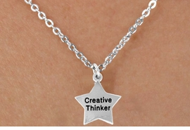 "<bR>                EXCLUSIVELY OURS!!<BR> CLICK HERE TO SEE 120+ EXCITING<BR>    CHANGES THAT YOU CAN MAKE!<BR>               LEAD & NICKEL FREE!!<BR>    W489SN - ""CREATIVE THINKER""<Br>STAR & NECKLACE AS LOW AS $4.50"