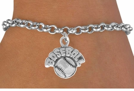 "<bR>              EXCLUSIVELY OURS!!<BR>CLICK HERE TO SEE 120+ EXCITING<BR>   CHANGES THAT YOU CAN MAKE!<BR>              LEAD & NICKEL FREE!!<BR>   W523SB - ""BASEBALL"" AND BALL<Br>         ON BRACELET AS LOW AS $4.50"
