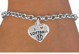"<bR>               EXCLUSIVELY OURS!!<BR>CLICK HERE TO SEE 120+ EXCITING<BR>   CHANGES THAT YOU CAN MAKE!<BR>              LEAD & NICKEL FREE!!<BR>  W524SB - ""I LOVE SOFTBALL"" &<Br>        BRACELET AS LOW AS $4.50"
