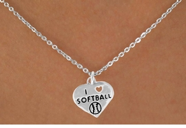 "<bR>               EXCLUSIVELY OURS!!<BR>CLICK HERE TO SEE 120+ EXCITING<BR>   CHANGES THAT YOU CAN MAKE!<BR>              LEAD & NICKEL FREE!!<BR>W524SN - ""I LOVE SOFTBALL"" HEART &<BR>         NECKLACE AS LOW AS $4.50"