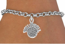 "<bR>              EXCLUSIVELY OURS!!<BR>CLICK HERE TO SEE 120+ EXCITING<BR>   CHANGES THAT YOU CAN MAKE!<BR>              LEAD & NICKEL FREE!!<BR>   W525SB - ""VOLLEYBALL"" AND BALL<Br>         ON BRACELET AS LOW AS $4.50"