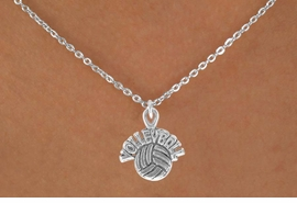 "<bR>               EXCLUSIVELY OURS!!<BR>CLICK HERE TO SEE 120+ EXCITING<BR>   CHANGES THAT YOU CAN MAKE!<BR>              LEAD & NICKEL FREE!!<BR> W525SN - ""VOLLEYBALL"" AND BALL &<BR>       NECKLACE AS LOW AS $4.50"