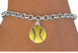 <bR>               EXCLUSIVELY OURS!!<BR>CLICK HERE TO SEE 120+ EXCITING<BR>   CHANGES THAT YOU CAN MAKE!<BR>     LEAD, CADMIUM, & NICKEL FREE!!<BR>        W527SB - YELLOW SOFTBALL<Br> BRACELET AS LOW AS $4.50 TO $8.35<BR>                                 ©2009
