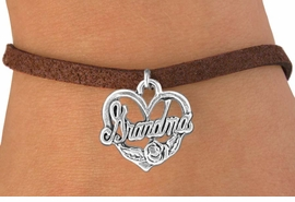 "<bR>               EXCLUSIVELY OURS!!<BR>CLICK HERE TO SEE 120+ EXCITING<BR>   CHANGES THAT YOU CAN MAKE!<BR>              LEAD & NICKEL FREE!!<BR>  W542SB - ""GRANDMA"" & HEART<Br>    ON BRACELET AS LOW AS $4.50"